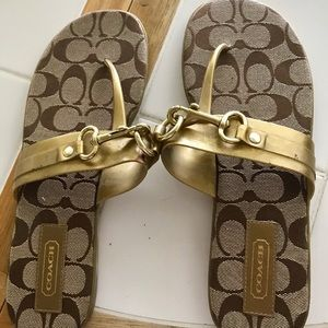 Authentic Coach Metallic Gold Monogram Sandals 8.5